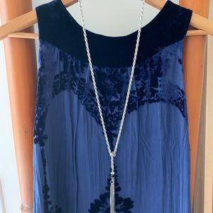 Long high neck velvet tunic